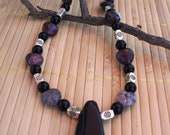 Onyx and Red Picture Jasper Hearts Necklace