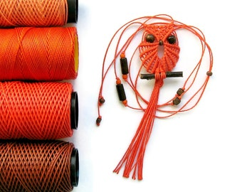 Orange Macrame Owl, Macrame Owl Necklace, Owl Jewelry, Textile Jewelry, Owl Pendant, Owl Necklace, Miniature Owl, Micro Macrame