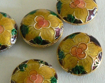 SALE 6 Handmade Cloisonne Beads Round 19x7mm Tropical Flower Petal Bead Gold b2733