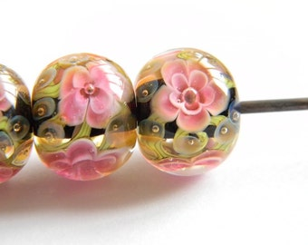 Cranberry, Terra and Black Encased Floral - Lampwork Glass Bead - MADE TO ORDER