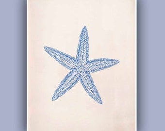 Blue Starfish Print,  Sea Star 8x10 print,  Marine Wall Decor, Nautical art,  Seashore art  Print, Coastal Living