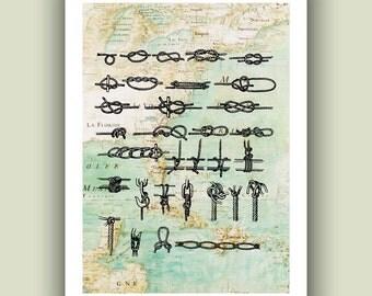 Nautical knots Print, 5x7 Print on old  Mexico Gulf  map, Nautical  Art Print, Matte Print