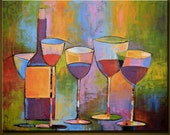 Abstract Painting Original Large Modern Art Heavy Texture ... Wine Party ... Amy Giacomelli