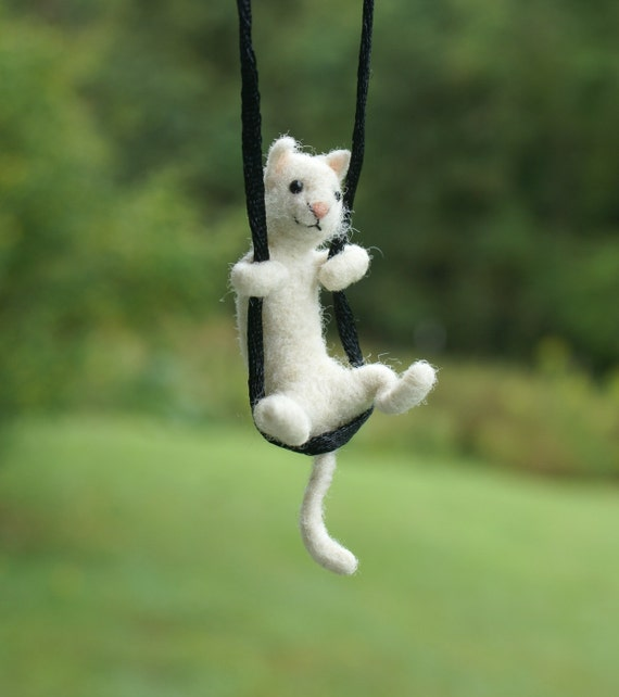 Tiny Cat Necklace - needle felted