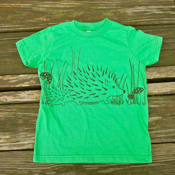Hedgehog Tee for Children in Grass Green