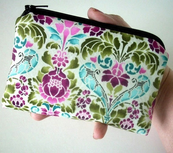 Padded Zipper Pouch Eco Friendly Eclectic Garden Little coin purse cell phone Gadget Case