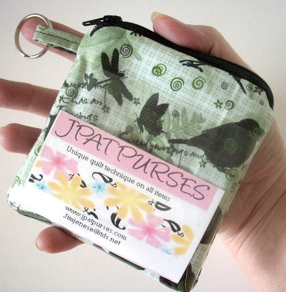 ID Window Padded Zipper Pouch With Key Ring Eco Friendly Natures Walk - NEW DESIGN