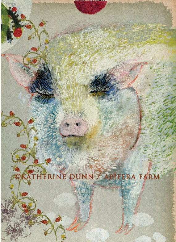 3 Art Cards of Rosie the Pig with Story Inside