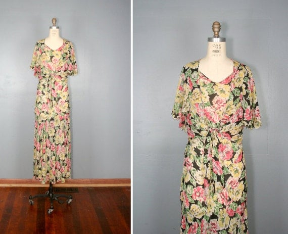 vintage . 1930s . dress . CALYPSO . floral . maxi . with . bolero . jacket