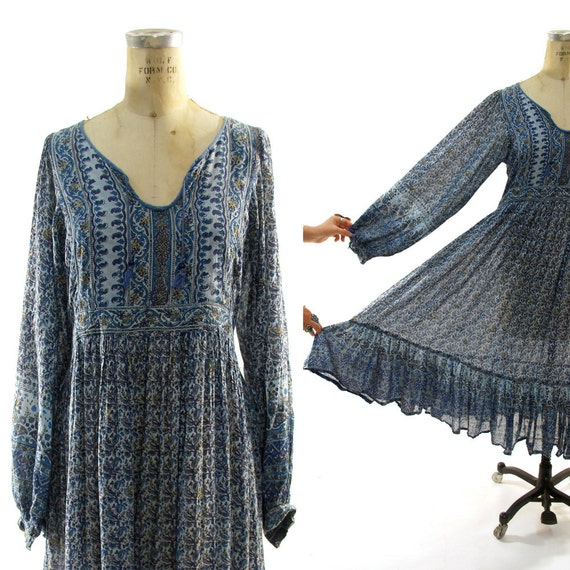 60s Indian Cotton Gauze Peasant / Hippie / Bohemian / Festival Dress in Shades of Blue
