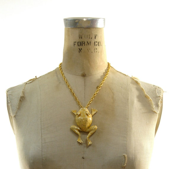 70s Figural Frog Necklace / Enamel & Gold on Thick Gold Chain