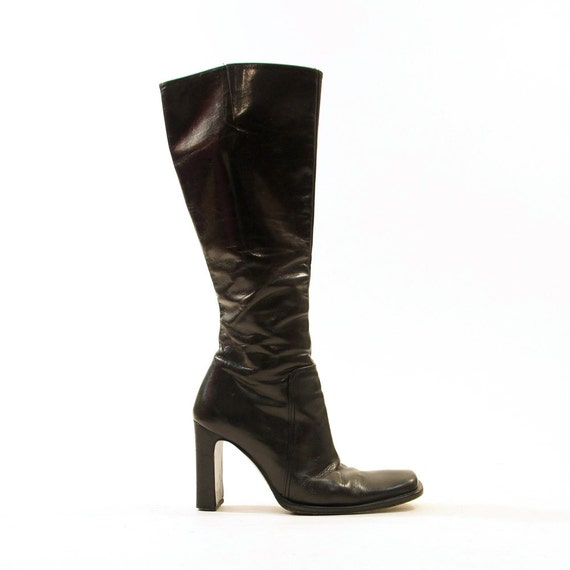 80s charles david knee high leather boots zip up by
