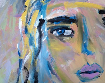 "Original Painting, ""Sad Girl"""