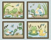 Pond Friends. Set of four 8x10 Wiggle Bugs, Frog & Turtle Nursery Art Prints