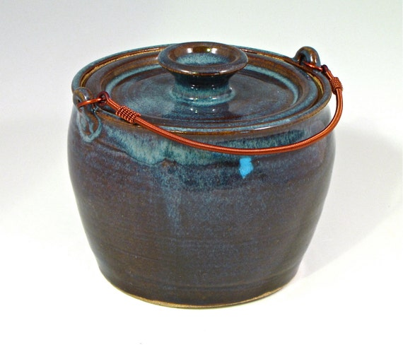 Compost pail- lidded pot with coiled copper handle for kitchen scraps, floating blue glaze