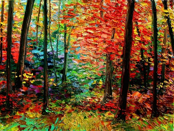 Abstract landscape original oil painting autumn art by Aja