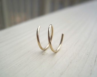 Solid 14K Gold Two-In-One-Hoop For RIGHT EAR (cartilage hoop)