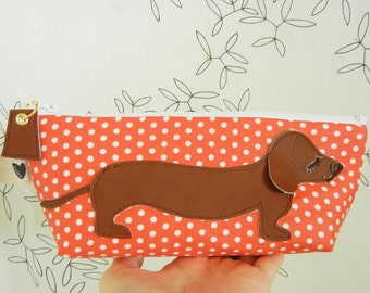 BBQ the Dachshund Strawberry Pink Polka Dots Cotton Canvas Case with Vinyl Applique