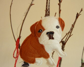 Boris the English Bulldog Dog Wool Felt Applique Decorative Holiday Ornament