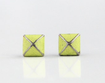 Lemon Yellow Patina Verdigris Geometric Pyramid Metal Stud Earrings. Surgical Steel Earrings Post. Gift for Her