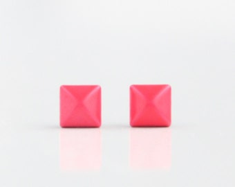 Neon Pink Geometric Pyramid Metal Stud Earrings. Surgical Steel Earrings Post. Gift for Her