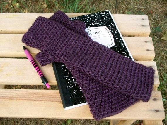 Long Purple Fingerless Gloves or Arm Warmers Crochet