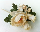 Boutonniere - Vintage Millinery Flower Pin - Petite Corsage - Ivory Flower Pin - Weddings and Bridal