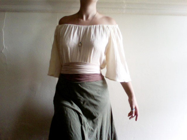 cream white peasant blouse bell sleeve handsewn wench