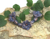Flower Bead Set  - Midnight Blue antiqued with Copper