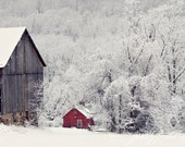 Winter Snow Scene, Fine Art Print, Snow Photo, Red House, Old Barn, Winter, Rural, Woodland Landscape, Farm Life, Maryland Art, 8x10 Print