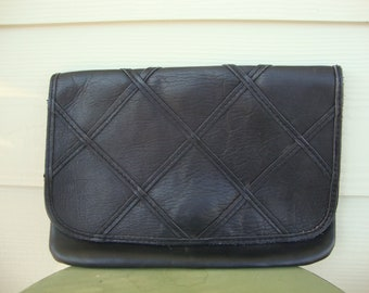 Vintage Black Leather Clutch Purse by Glo-Belle Super Soft