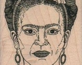 Frida rubber stamp face portrait woman with flowers in hair crafting scrapbooking supplies number14286 holzstempel