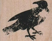 Rubber stamp  Steampunk  supplies Poe faded crow raven wood Mounted  scrapbooking supplies 18912