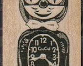 Rubber stamp   Kitten cat clock FELIX stamping  scrapbooking supplies number 7615