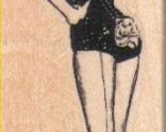 rubber stamp PinUp girl tipping top hat  Mounting options: cling stamp, unmounted or wood mounted rubber stamp   number 4811 retro  Elvgren