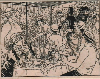 cafe scene  wood mounted rubber stamp   number 15190