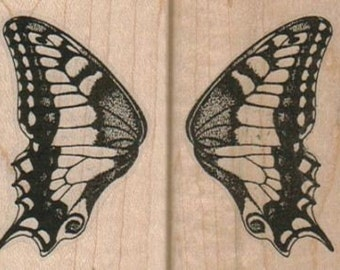 Butterfly Wing Set (2) Each   rubber stamps place cards gifts   wood mounted  number  10617 set of two stamps- right and left wings