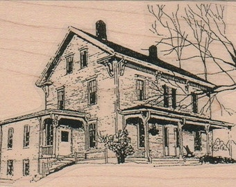 House Large  rubber stamp Steampunk Victorian  unMounted   rubber stamp    stamp number 9864