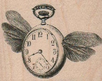 Rubber stamp  Steampunk  supplies Flying pocket watch with wings  wood Mounted  scrapbooking supplies number 19004