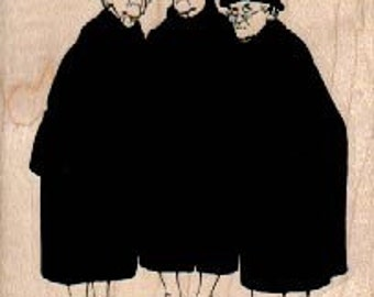 Old ladies gossiping  three woman   stamp  wood Mounted   rubber stamp    stamp number 4648