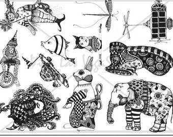 Full plate of original rubber stamps by Mary Vogel Lozinak  plate no 953 frog fish elephant who