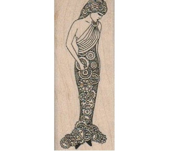 Steampunk Zentangle Mermaid   rubber stamps place cards gifts  cling stamp, unmounted or wood mounted 18682