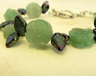 """Carved Rose Bracelet, Aventurine and AB Czech Glass """"Rose Garden"""", carved stone rose beads, flower garden bracelet"""