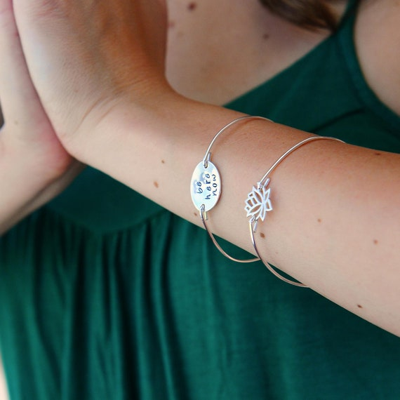 Lotus Flower Jewelry Simple Sterling Silver Bangle Bracelet