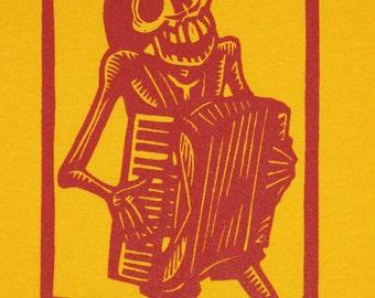 Skeleton Accordionist Calavera Bones Tshirt, Medium
