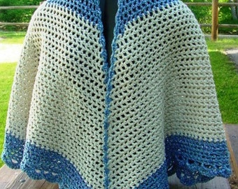 Blue and White Cape - Handmade Crochet - Wardrobe Accessory