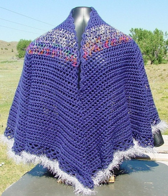 Blue Cape With Sparkle Accent - Handmade Crochet - Fashion Accessory