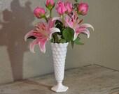 Milk Glass Vase Diamond Cube Pattern
