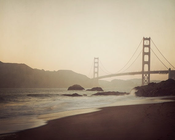 San Francisco Photography, Golden Gate Bridge at Sunset, California, Travel Photography, Architecture  - Evening Suspended