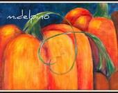 Pumpkin Thanksgiving decor print orange navy blue heart vine autumn halloween fall harvest kitchen art